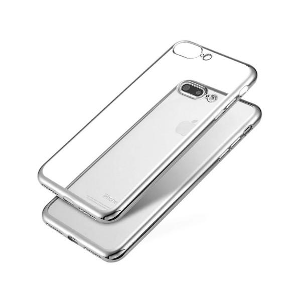 Jc carcasa transparente con borde plata apple iphone 7/8 plus