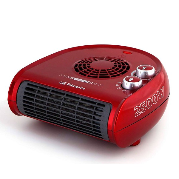 Calefactor eléctrico rojo con 2500w de potencia 2 posiciones de calor y función ventilador
