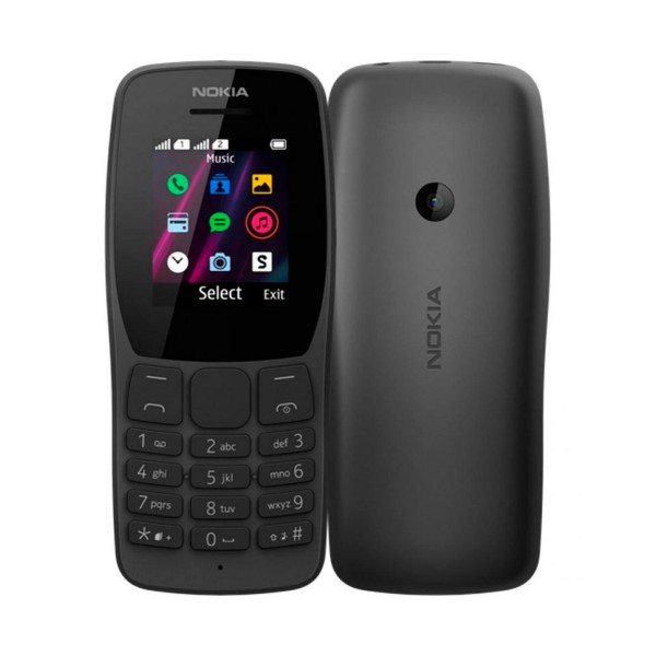 Nokia 110 negro móvil gsm dual sim 1.77'' qqvga 4mb hasta 32gb con sd cámara qvga fm