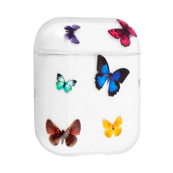 Akashi altairpodbutf mariposas carcasa airpods 1 y 2 rídiga antihuellas con mosquetón